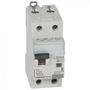 RCBO - DX³ 6000 -10 kA -1P+N-230 V~ -25 A -30 mA -AC type -N right hand