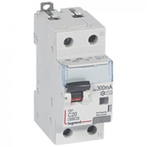 RCBO - DX³ 6000 -10 kA -1P+N-230 V~ -20 A -300 mA -AC type -N right hand