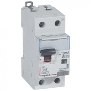 RCBO - DX³ 6000 -10 kA -1P+N-230 V~ -16 A -10 mA -A type -N right hand