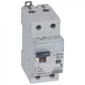 RCBO - DX³ 6000 -10 kA -1P+N-230 V~ -10 A -30 mA -A type -N right hand