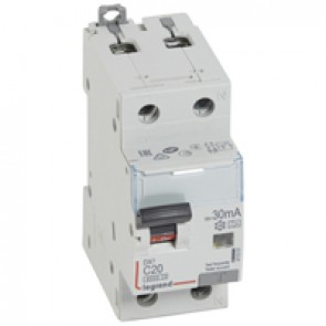 RCBO - DX³ 6000 -10 kA -1P+N-230 V~ -20 A -30 mA -A type -N right hand