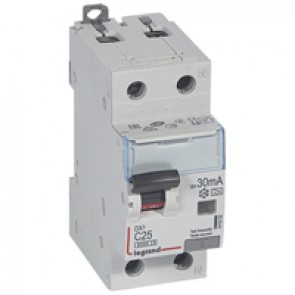 RCBO - DX³ 6000 -10 kA -1P+N-230 V~ -25 A -30 mA -A type -N right hand