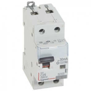 RCBO - DX³ 6000 -10 kA -1P+N-230 V~ -25 A -30 mA -Hpi type -N right hand