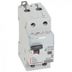 RCBO - DX³ 6000 -10 kA -1P+N-230 V~ -40 A -30 mA -Hpi type -N right hand