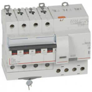 RCBO - DX³ 6000 -10 kA -4P-400 V~ -50 A -30 mA -AC type