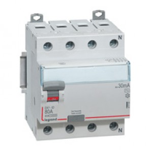 RCD DX³-ID - 4P 400 V~ neutral right hand side - 80 A - 30 mA - AC type