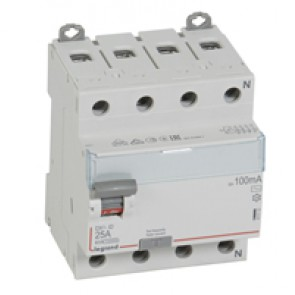 RCD DX³-ID - 4P 400 V~ neutral right hand side - 25 A - 100 mA - AC type
