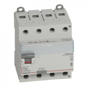 RCD DX³-ID - 4P 400 V~ neutral right hand side - 25 A - 300 mA - AC type