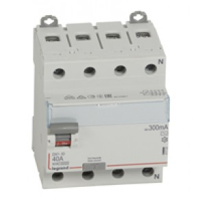 RCD DX³-ID - 4P 400 V~ neutral right hand side - 40 A - 300 mA - AC type