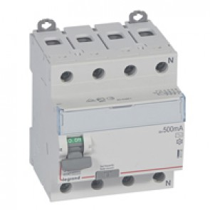 RCD DX³-ID - 4P 400 V~ neutral right hand side - 80 A - 500 mA - AC type