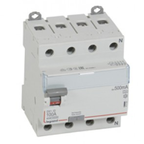 RCD DX³-ID - 4P 400 V~ neutral right hand side - 100 A - 500 mA - A type