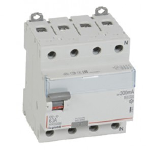 RCD DX³-ID - 4P 400 V~ neutral right hand side - 63 A-300 mA selective - A type