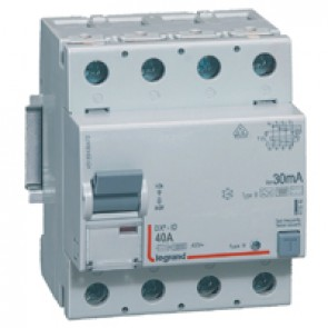 RCD DX³-ID - 4P 230 V~ - 40 A - 30 mA - B type - neutral on left-hand