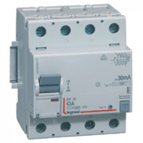 RCD DX³-ID - 4P 230 V~ - 63 A - 30 mA - B type - neutral on left-hand