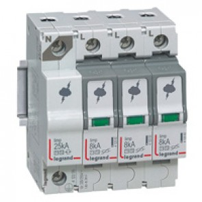 SPD - protection of main distribution board - T1+T2 - limp 8 kA/pole - 3P+N left