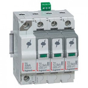 SPD - protection of main distribution board -T1+T2 -limp 12.5 kA/pole -3P+N left