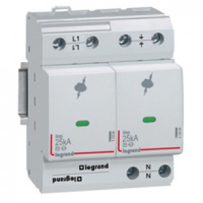 SPD - high risk level installation - T1+T2 - limp 25 kA/pole - 1P+N right