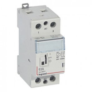 Power contactor CX³ - with 230 V~ coll and handle - 2P 250 V~ - 63 A - 2 N/C