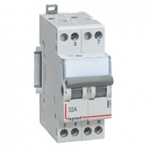 Changeover switch - double 2-way 400 V~ - 32 A - 2 modules
