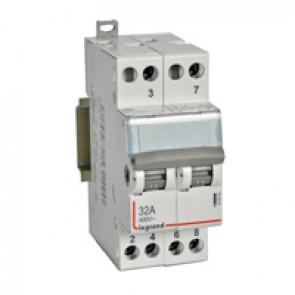 Changeover switch - double 2-way with centre point- 400 V~ - 32 A - 2 modules