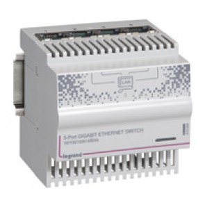 4+1 RJ45 ports ethernet switch - 1 gigabit - 4 DIN modules