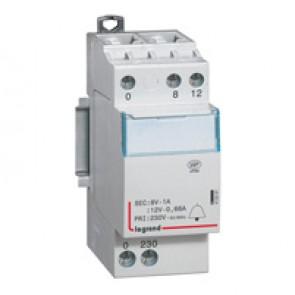 Bell transformer 230 V/12 V - 8 V - 8 VA - 2 modules