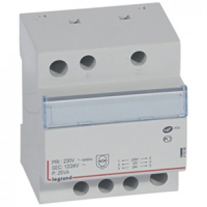 Safety transformer 230 V/12 or 24 V -25 VA - 4 modules