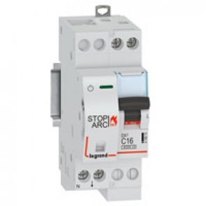 DX³ Stop Arc 6000 with top side supply - 1P+N on left-hand side 230 V~ - 16 A - 2 modules - C curve