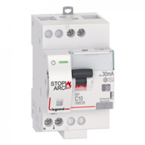 DX³ Stop Arc 6000 with top side supply - 1P+N on left-hand side - 30 mA - AC type 230 V~ - 10 A - 3 modules - C curve