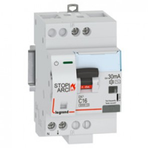 DX³ Stop Arc 6000 with top side supply - 1P+N on left-hand side - 30 mA - AC type 230 V~ - 16 A - 3 modules - C curve