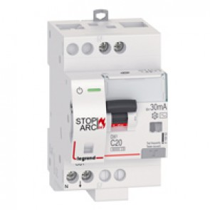 DX³ Stop Arc 6000 with top side supply - 1P+N on left-hand side - 30 mA - AC type 230 V~ - 20 A - 3 modules - C curve