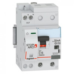 DX³ Stop Arc 10000 with bottom side supply - 1P+N on right-hand side - 30 mA - A type 230 V~ - 16 A - 3 modules -C curve