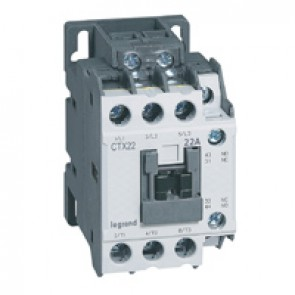 3-pole contactors CTX³ 22 - 22 A - 24 V= - 1 NO + 1 NC - screw terminals