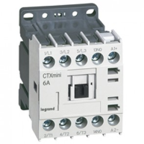 3-pole mini contactors CTX³ - 6 A (AC3) - 24 V= - 1 NO - screw terminals