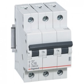 MCB RX³ 6000 - 3P 400 V~ - 16 A - C curve - prong-type supply busbars