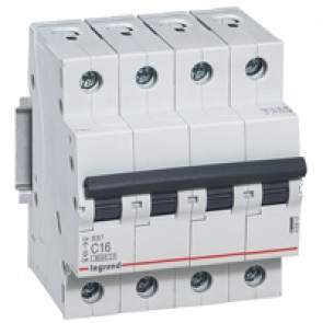 MCB RX³ 6000 - 4P 400 V~ - 16 A - C curve - prong-type supply busbars
