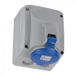 Surface mounting socket P17 - IP44 - 200/250 V~ - 32 A - 2P+E