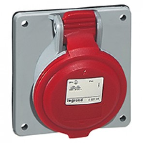 Panel mounting socket P17 - inclined outlet - IP44 - 380/415 V~ - 32 A - 3P+E