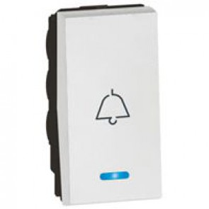 1-way push-button Arteor - with locator and bell symbol - 1 module - white