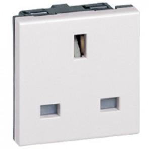 Socket Arteor - BS 1363 - 13 A - 2P+E - 2 modules - white