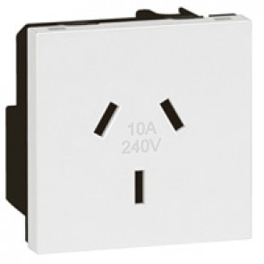 Socket Arteor -Australian - 10 A - 2P+E auto-switched - shuttered - 2 modules -white