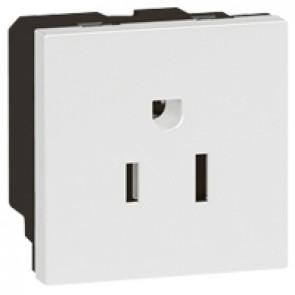 Socket Arteor - US - 15 A / 127 V - 2P+E - 2 modules - white