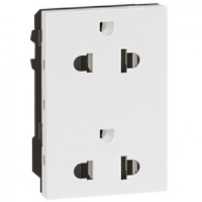 Socket Arteor -Euro-US- 15 A/127 V - 16 A/250 V - 2 x 2P+E + shutters - 3 modules -white