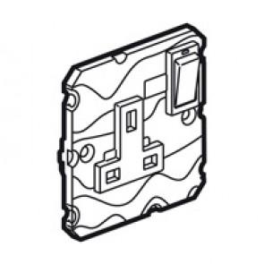 Single pole socket Arteor - BS 1363:2 - 13 A- 2P+E switched+neon - 1-gang -white
