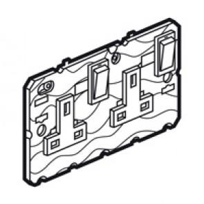Single pole socket Arteor - BS 1363:2 - 13 A- 2P+E switched+neon - 2-gang -white