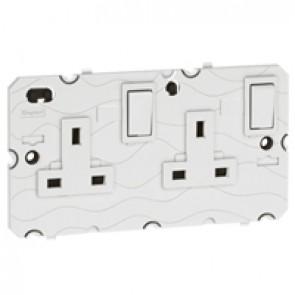 Double pole socket Arteor - BS 1363:2 - 13 A- 2P+E switched twin E- 2-gang -white