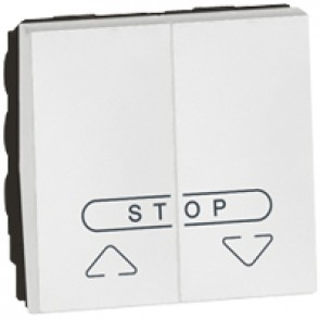 Double push-button Arteor for electric roller blinds control - 2 modules - white