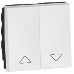 Double switch Arteor for electric roller blinds control - 2 modules - white
