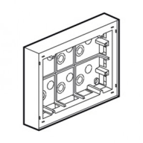 Surface mounting box Arteor - Brit./Germ./French standard - 38 mm depth- 2 x 6 modules