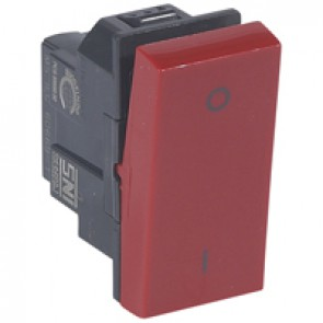 Double pole switch Arteor 20 AX 250 V~ - 1 module - red